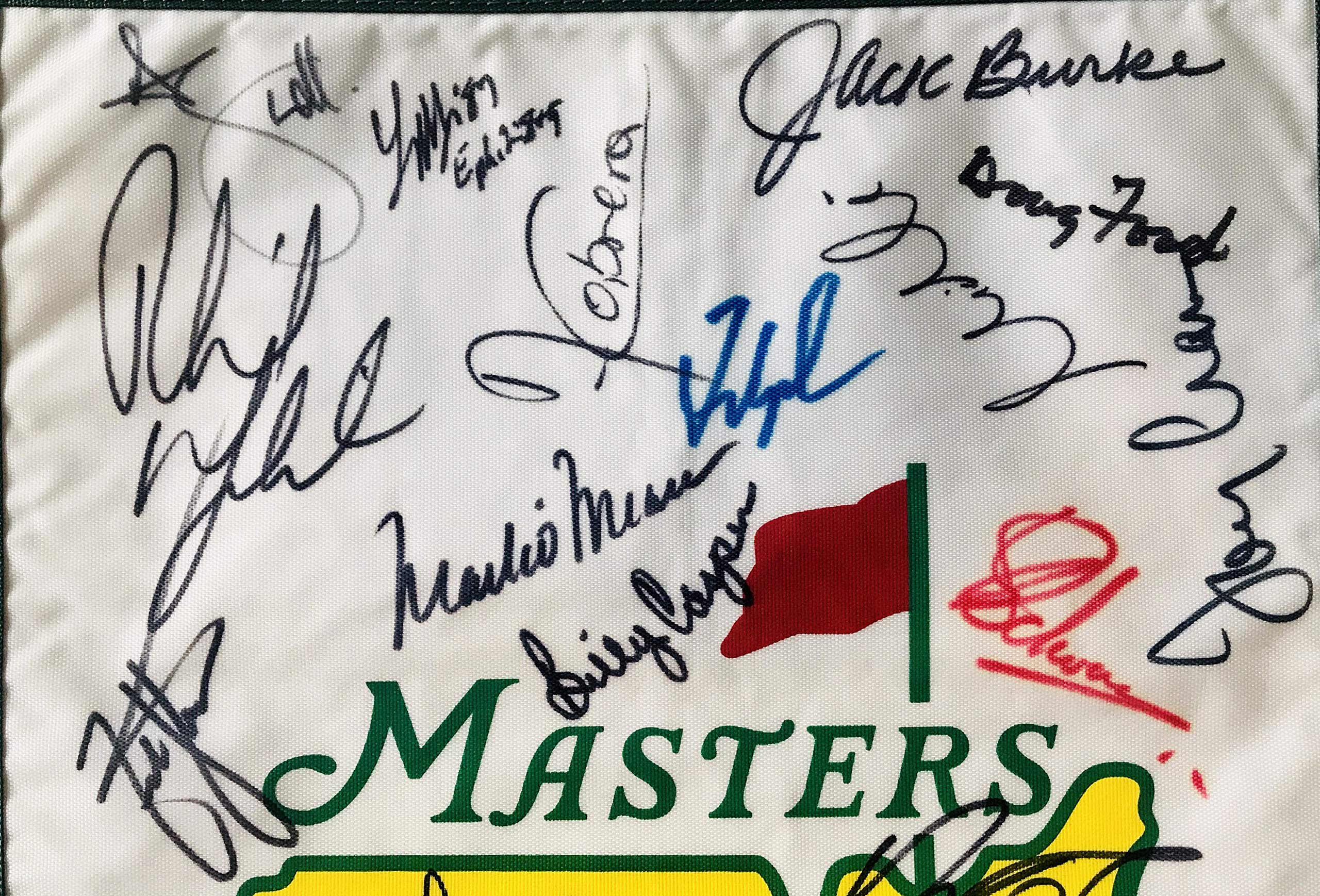 Masters golf flag signed 29 champs Jordan Spieth Jack Nicklaus Arnold Palmer phil mickelson beckett loa