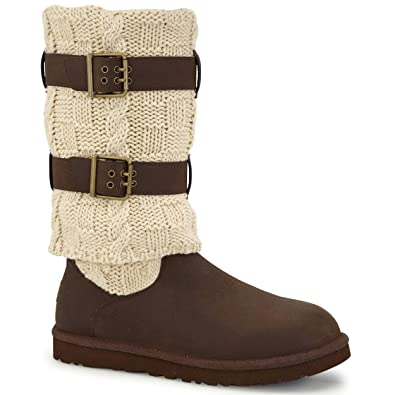 UGG Women's Cassidee Tall Chocolate Leather/Knit Boot 5 B ...