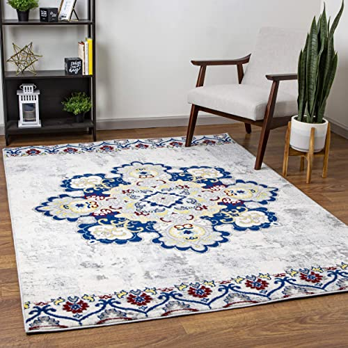 Super Area Rugs Vintage Chakra Traditional Area Rug, Ivory, 8 X 10