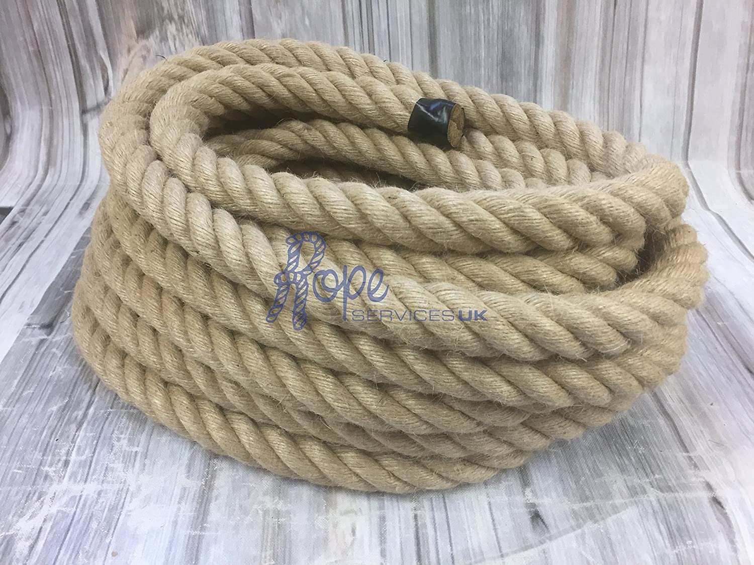 RopeServices UK 24mm Natural Jute Rope x 20 Metre Length - 4 Strand, Decking, Garden, Boating, Home