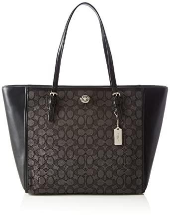 Amazon.com  Coach Ladies Large Leather   Canvas Tote Handbag 36932 ... 529a3500b1cff