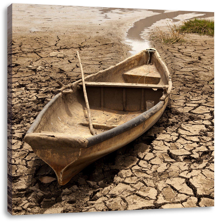 Boot in der Dürre, Format: 40x40 auf Leinwand, XXL riesige Bilder ...