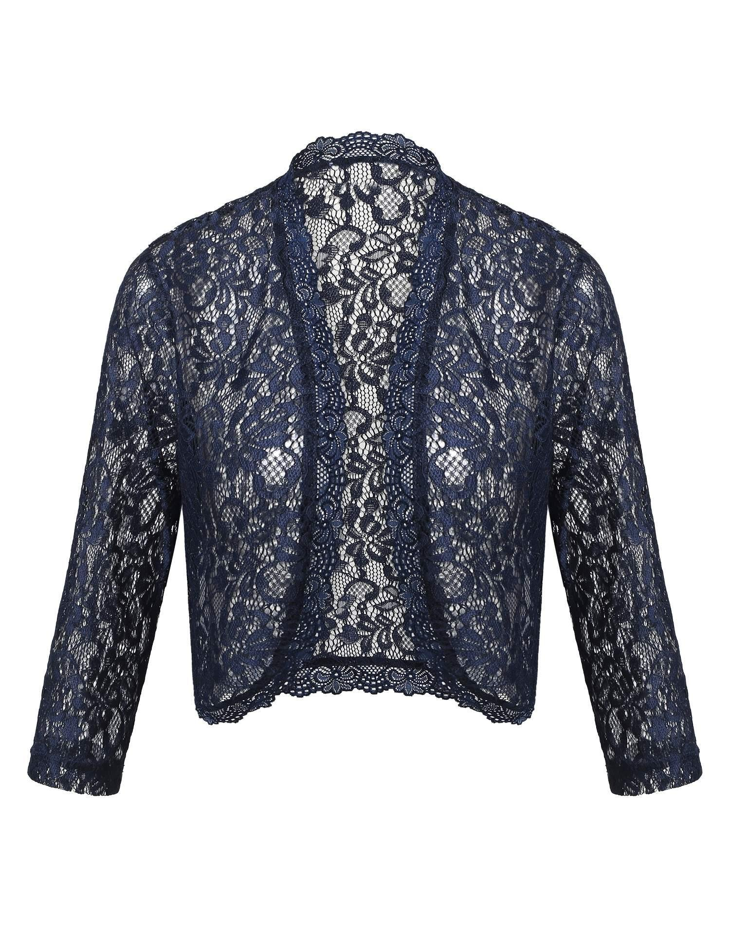 ThinIce Lace Bolero Ladies Crochet Summer Sheer Cardigans Long Sleeve Party Jackets (Navy Blue, M)