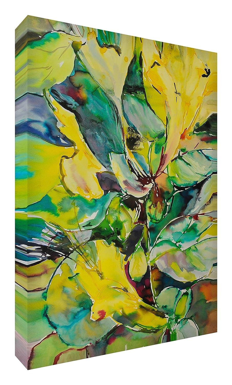 Feel Good Art Leinwand leuchtenden Farben Abstrakt gehören des Künstlers Val Johnson Honeysuckle 96x 96x 4cm Größe XXL