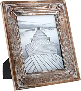 "Barnyard Designs Rustic Farmhouse Distressed Picture Frame - Unfinished Wood Photo Frame 8"" x 10"""