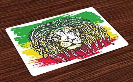 Amazon Com Ambesonne Rasta Place Mats Set Of 4 Ethiopian African