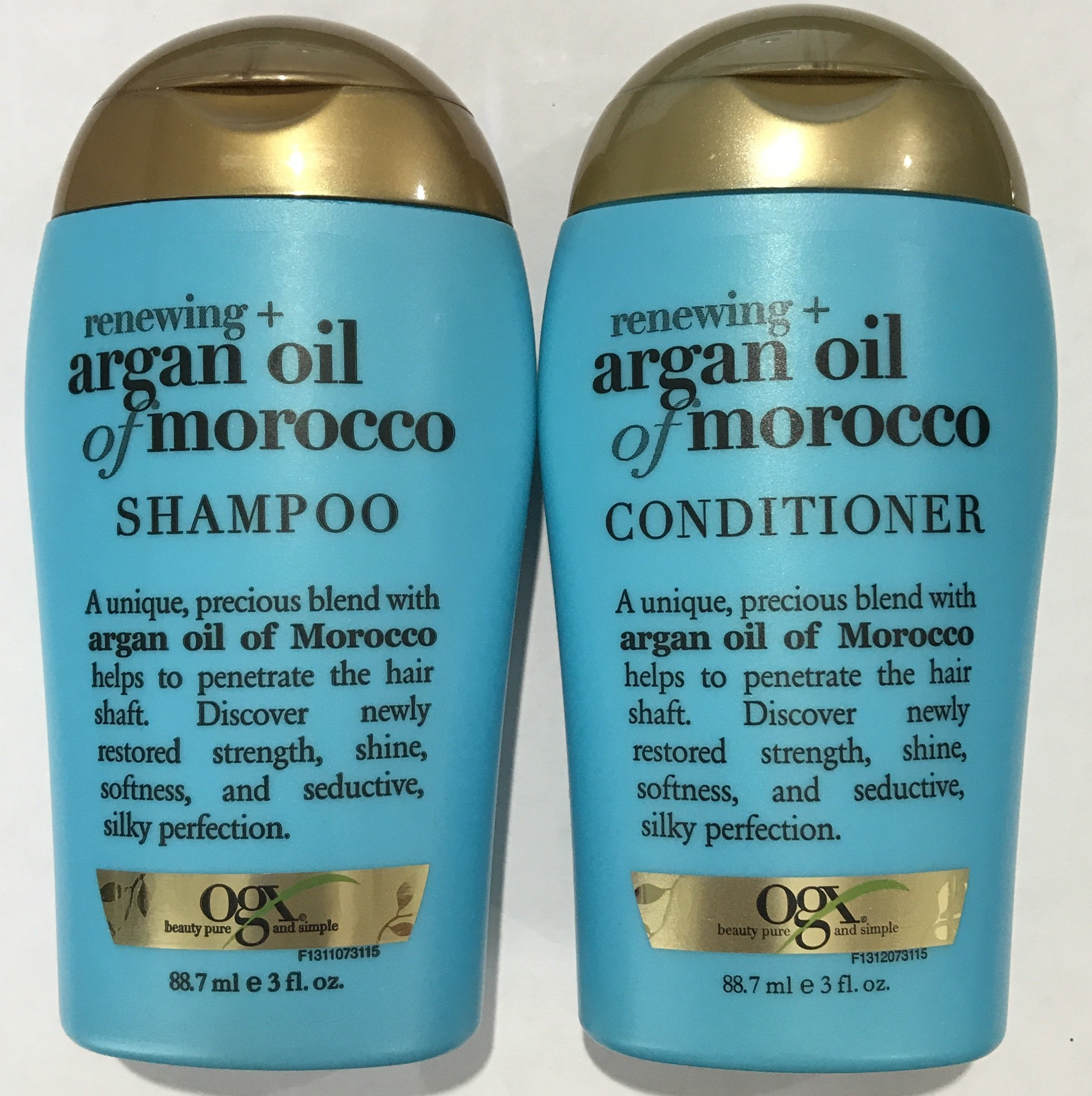 Ogx Renewing Argan Oil of Morocco Shampoo & Conditioner Travel Size - 3 Oz. Each
