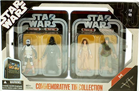 Star Wars Episode VI 6 Collectible Tin Action Figure Set RETURN OF THE JEDI  with 4 Action Figures: Biker Scout Trooper, Darth Vader, Princess Leia