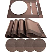 JJ KANGMEILU Placemats, Non-Slip Heat Resistant PVC Table Mats Woven Vinyl for Dining Room Table Washable Table Mats Set…
