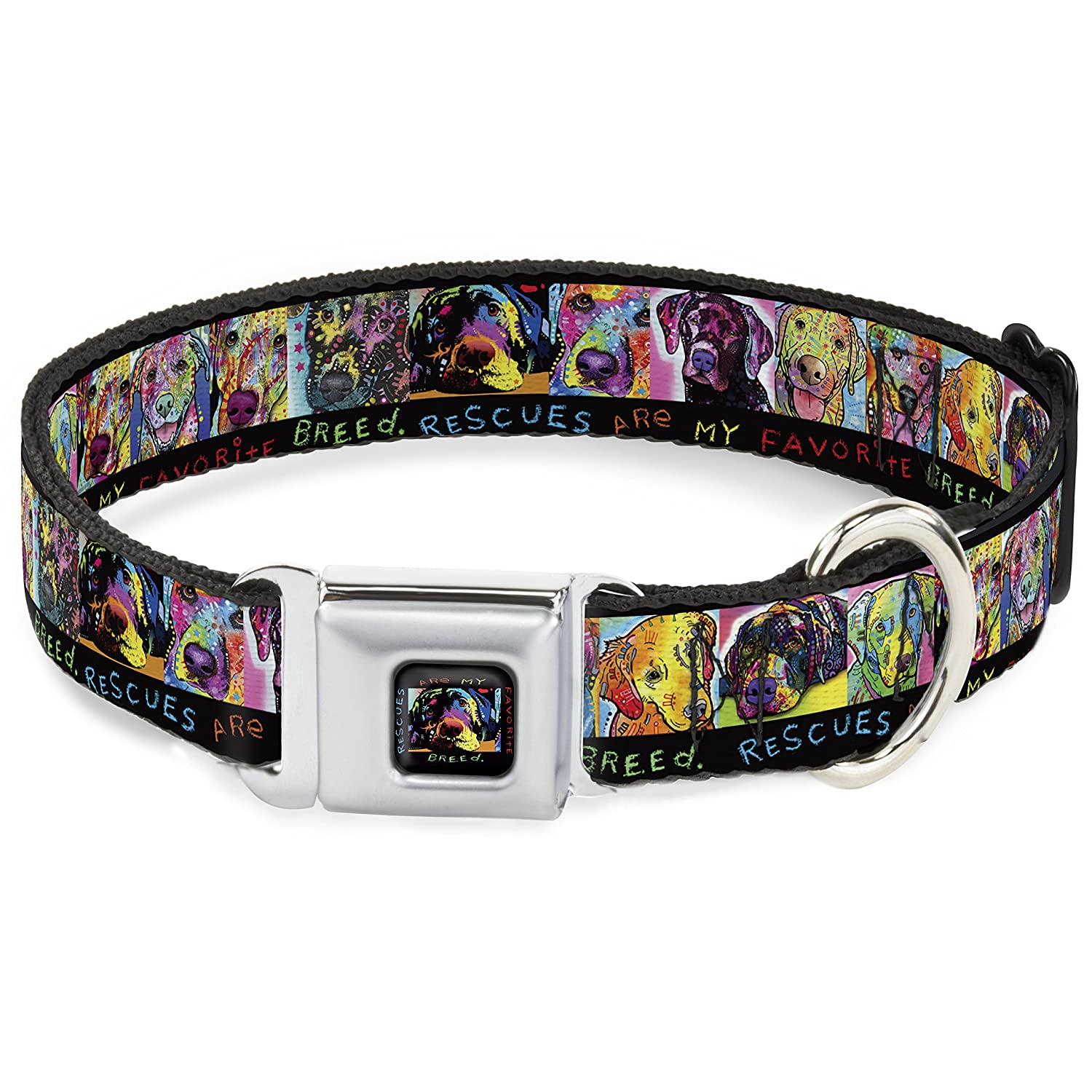 Buckle-Down Dc-Wal004-M ALB Portraits Rescues are My Favorite Breed Dog Collar, Medium, Black Multi color
