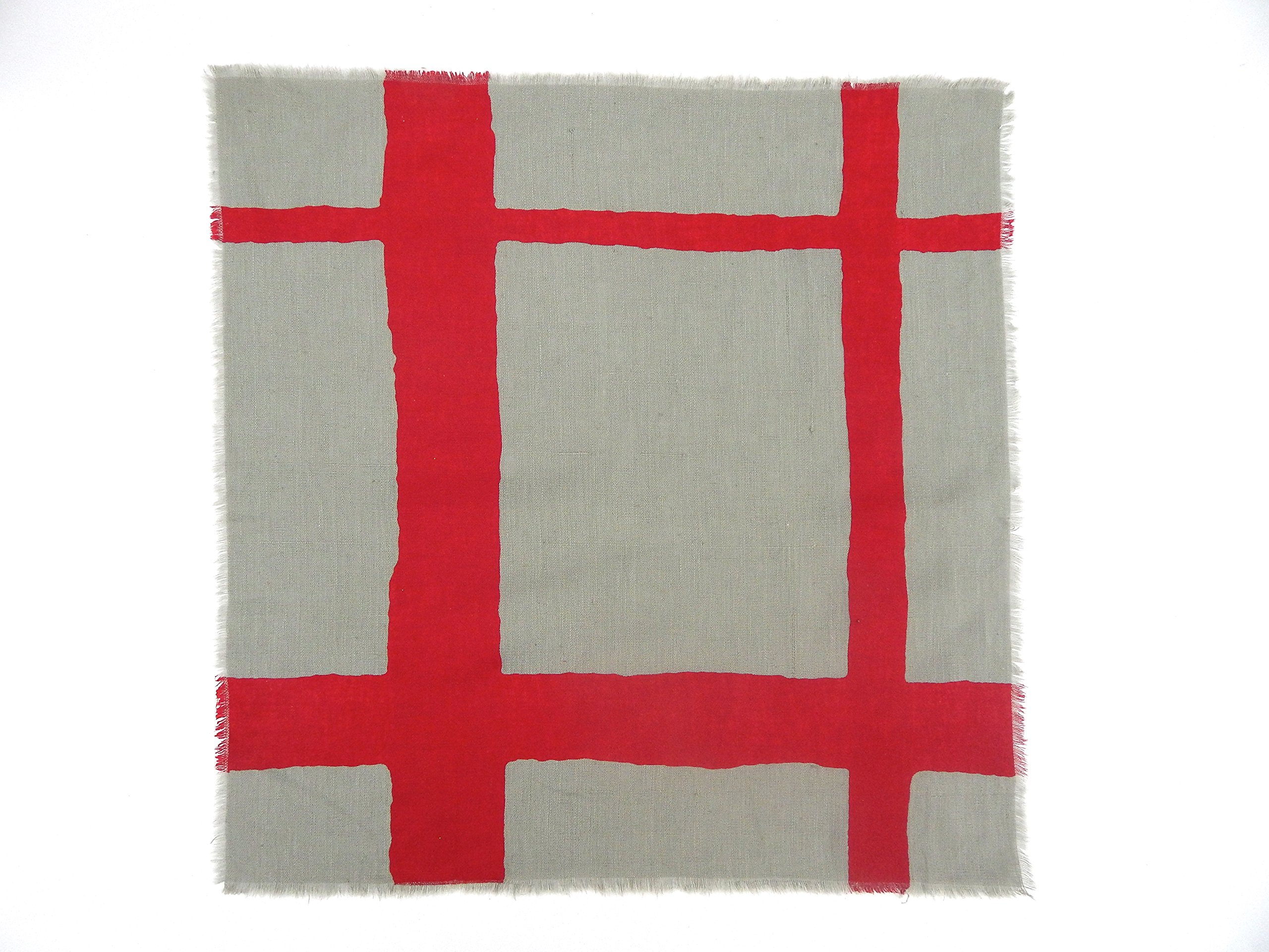 Gitika Goyal Home Windows Collection Cotton Khadi  Grey Napkin 17x17 Checks Design, Red Hand Screen Print