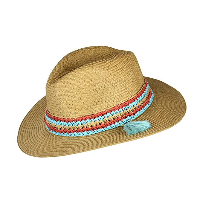 88d47f1f84326 Image Unavailable. Image not available for. Color  Teal Tassel Summer Large  Brim Straw Panama Sun Hat for Women- Adjustable Boho Fedora with