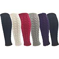 Leg Warmers for Women, 6 Pairs Knee High Cable Knit Warm Thermal Acrylic Winter Sleeve