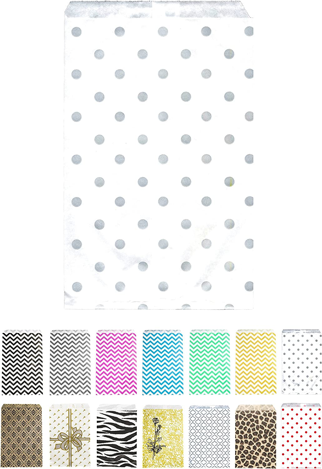 Novel Box® Silver Polka Dot Print Paper Gift Candy Jewelry Merchandise Bag Bundle 4X6