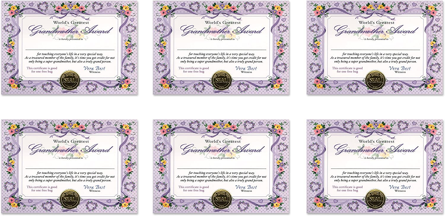 5 by 7-Inch 6-Pack Beistle CG049 Worlds Greatest Grandmother Certificates
