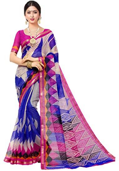 8c8a29f807 Miraan Women's Silk Saree with Blouse Piece (SRH81_Blue_One Size):  Amazon.in: Clothing & Accessories