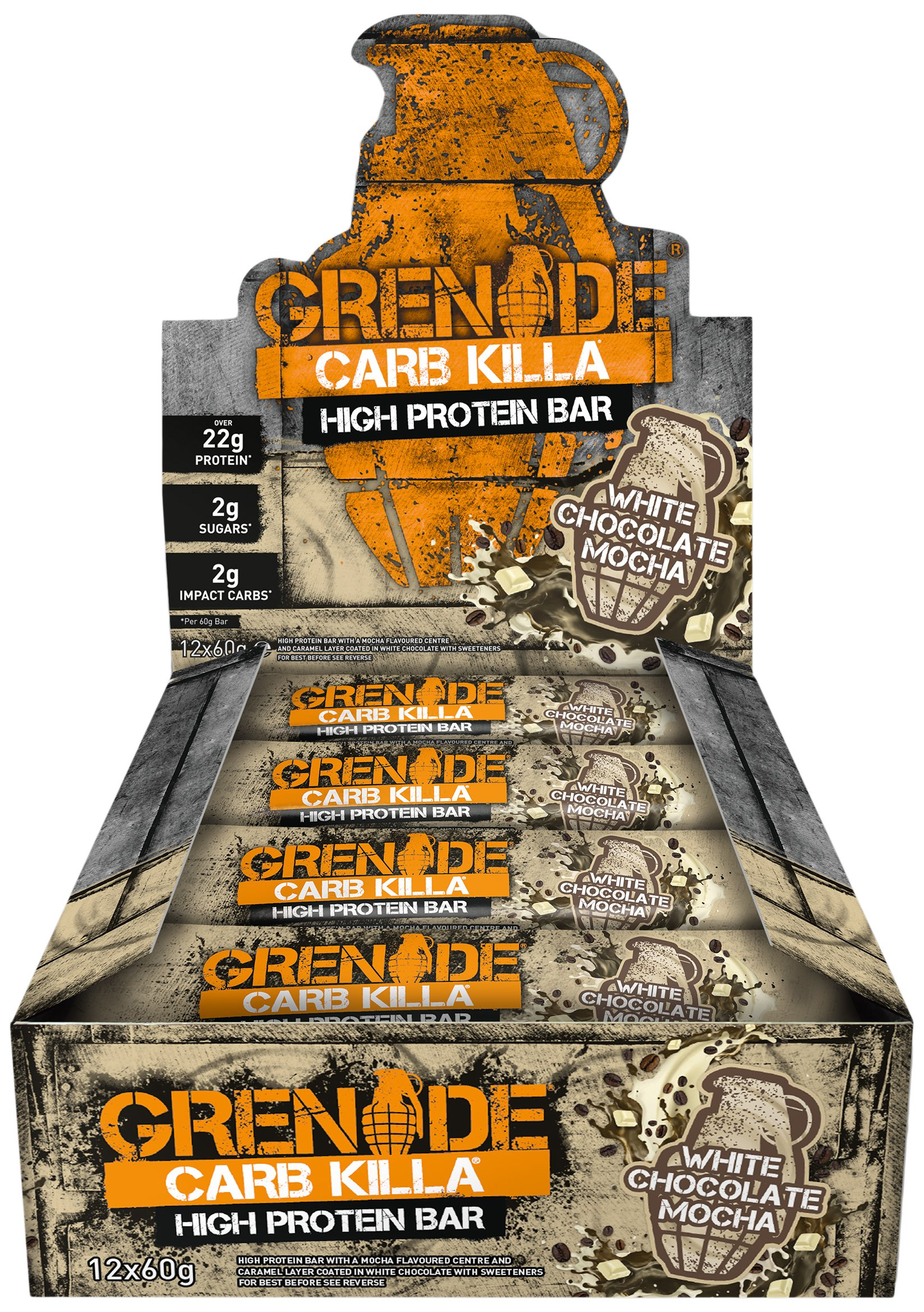Grenade Carb Killa White Choc Mocha High Protein and Low Carb Bar, 12 x 60 g product image