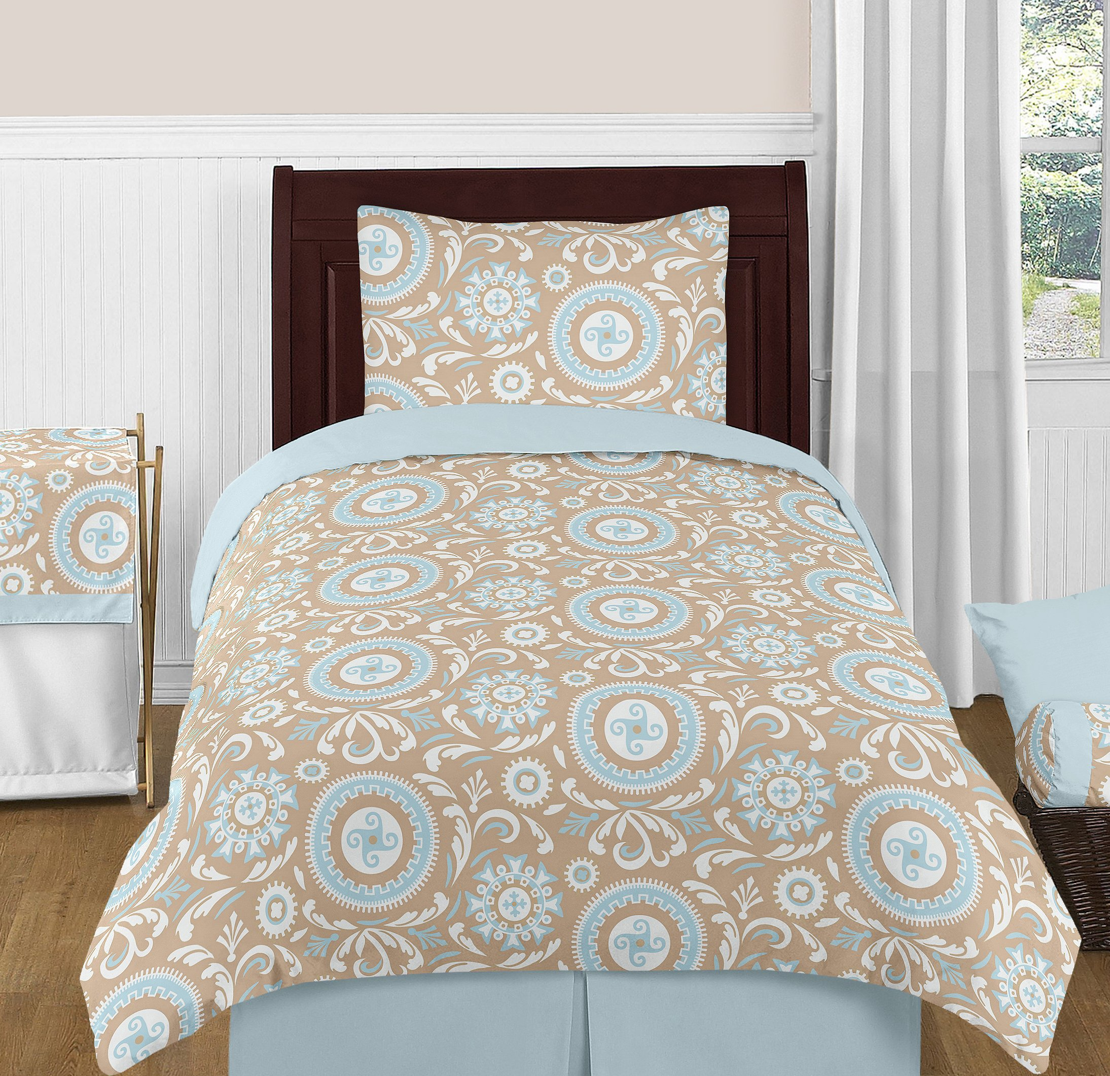Sweet Jojo Designs 4-Piece Blue and Taupe Hayden Childrens and Kids Bedding Girl or Boy Twin Set