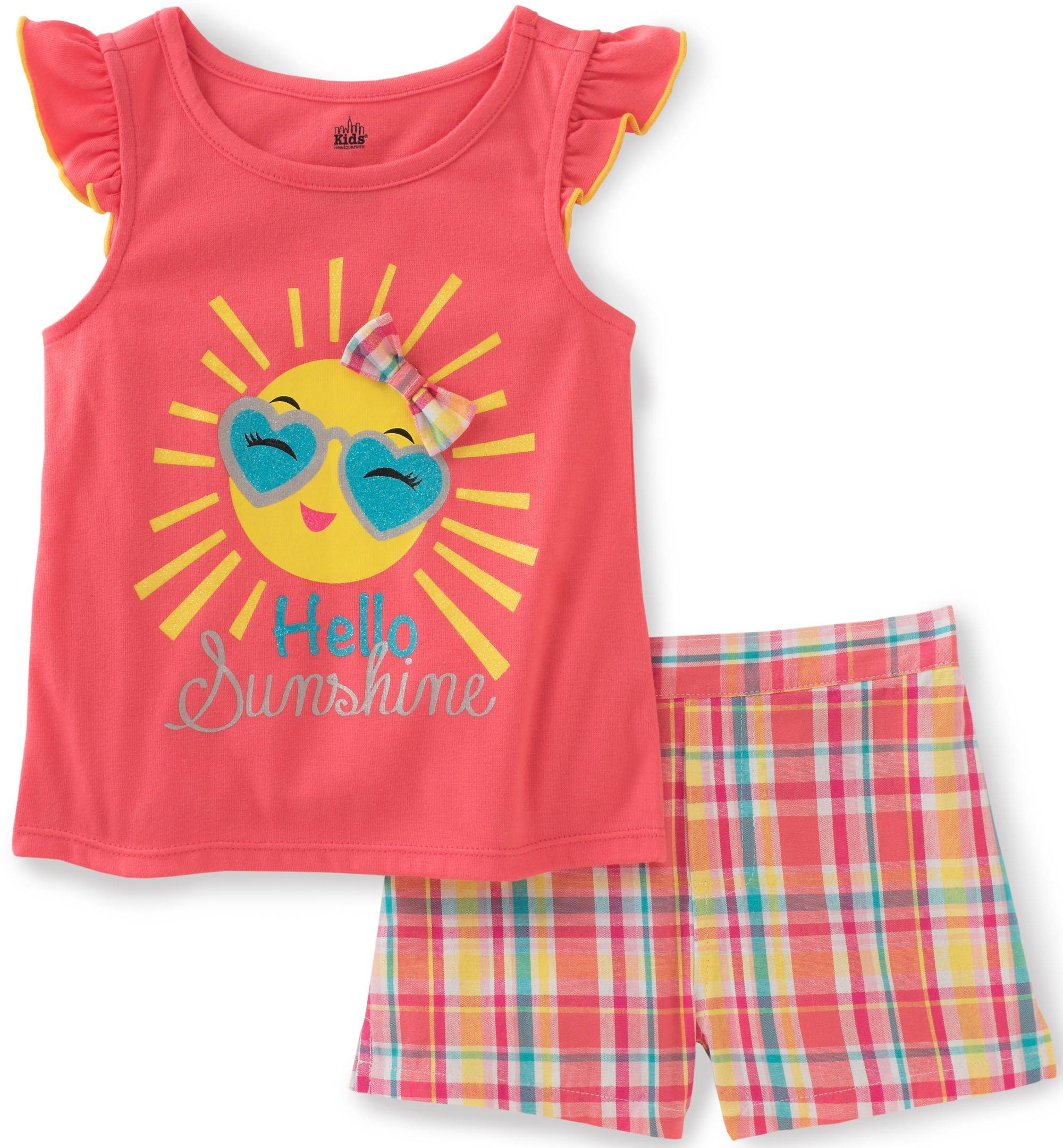Kids Headquarters Little Girls' Toddler 2 Piece Short Set-Cap Sleeves, Coral/Yellow, 3T