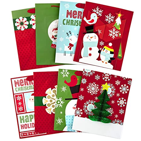 hallmark large christmas gift bag assortment with tissue paper 3d attachments pack of 8