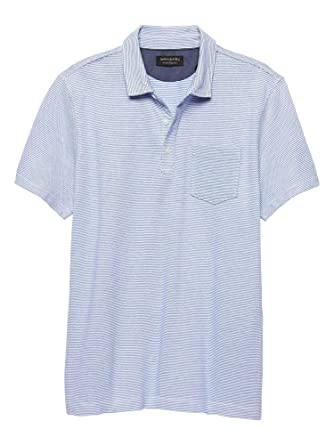 9a596ae24cd7 Banana Republic Mens Moisture Wicking Pique Polo Shirts Blue Striped (Small)