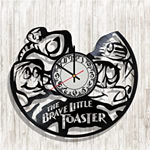 BaklajanStudio XXL Design Wall Clock The Brave Little Toaster Made from Real Vinyl Record, The Brave Little Toaster Decal, Design Art Wall Decor