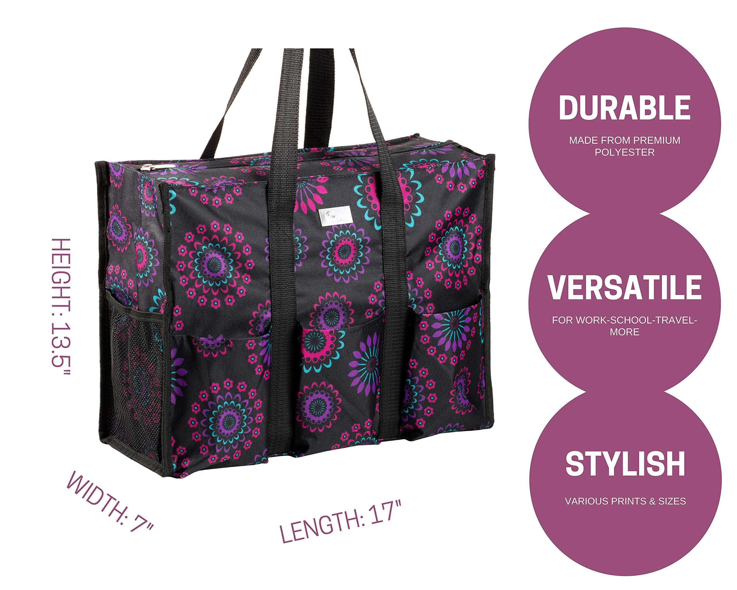 Pursetti Zip-Top Organizing Utility Tote Bag (Purple Circle_L) with Multiple Exterior & Interior Pockets for Working Women, Nurses, Teachers and Soccer Moms by Pursetti (Image #2)