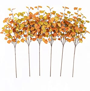 "YNYLCHMX 6 Pieces 28"" Artificial Ginkgo Leaves Stems Fall Leaf Spray, Autumn Leaves Picks for Vase Room Kitchen Office Decoration"