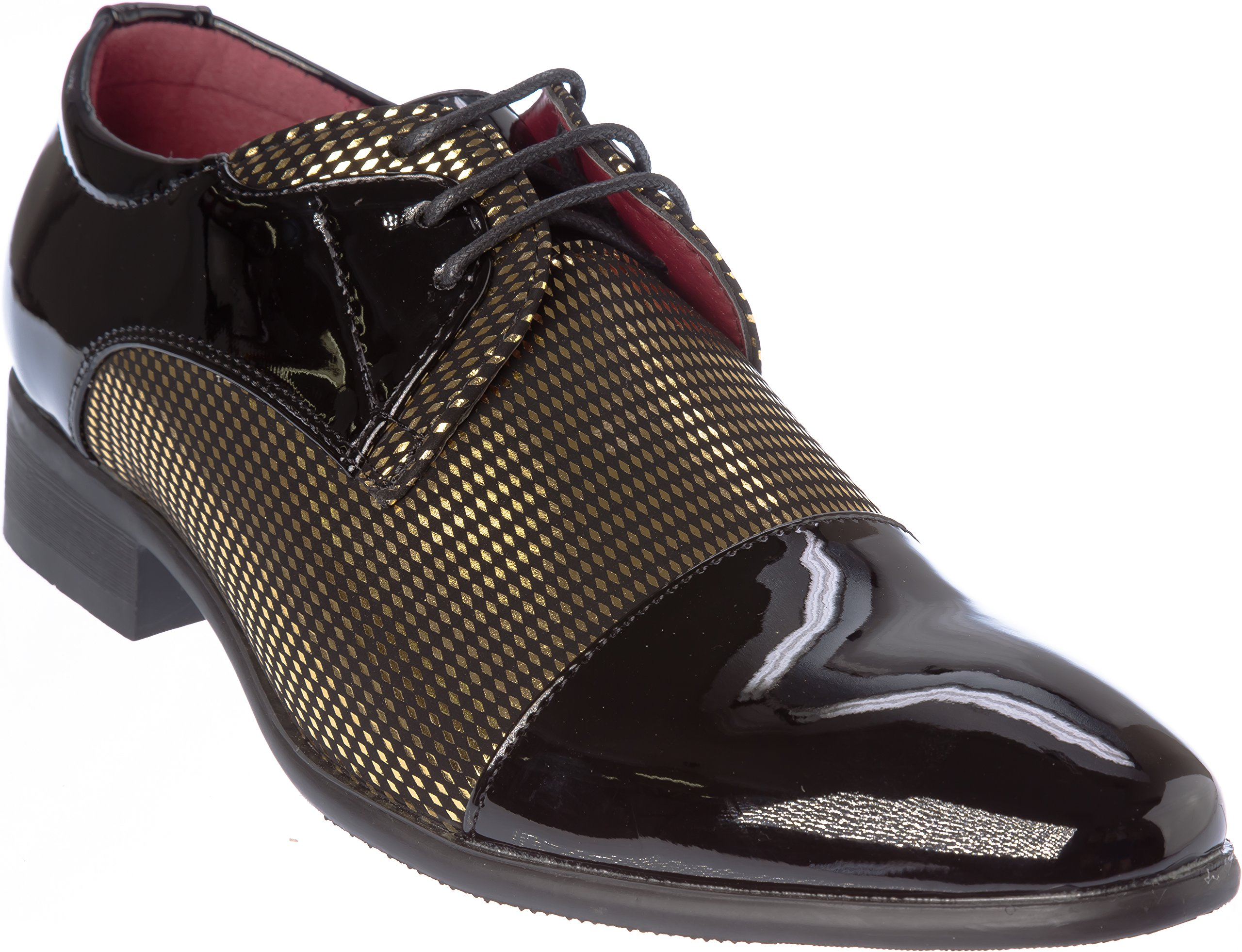 novak01 Mens Lace-up Oxford Black-Gold Dress-Shoes Size 13