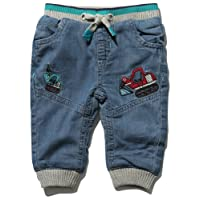 M&Co Baby Boy Cotton Rich Denim Digger Applique Rib Stretch Waistband Cuffed Ankles Jogger Jeans