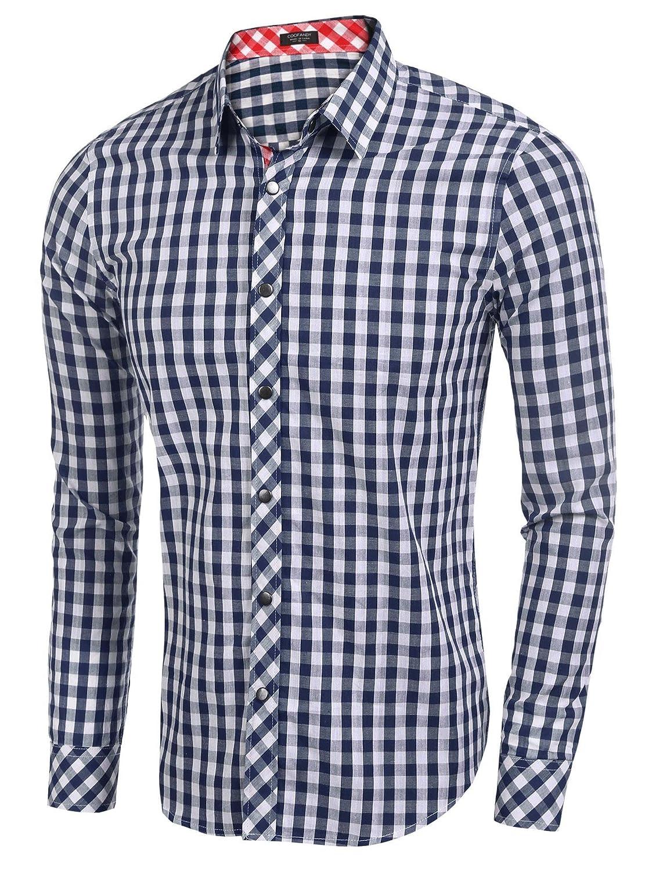 Etuoji Men Plaid Cotton Casual Slim Fit Long Sleeve Button Down Dress Shirts