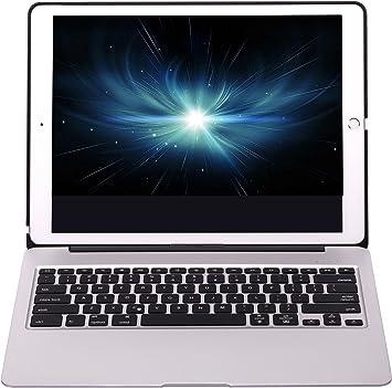 OBOR iPad Pro 12,9 pulgadas teclado Funda - Flip Smart base de aleación de aluminio carcasa protectora con 7 colores de retroiluminación teclado ...