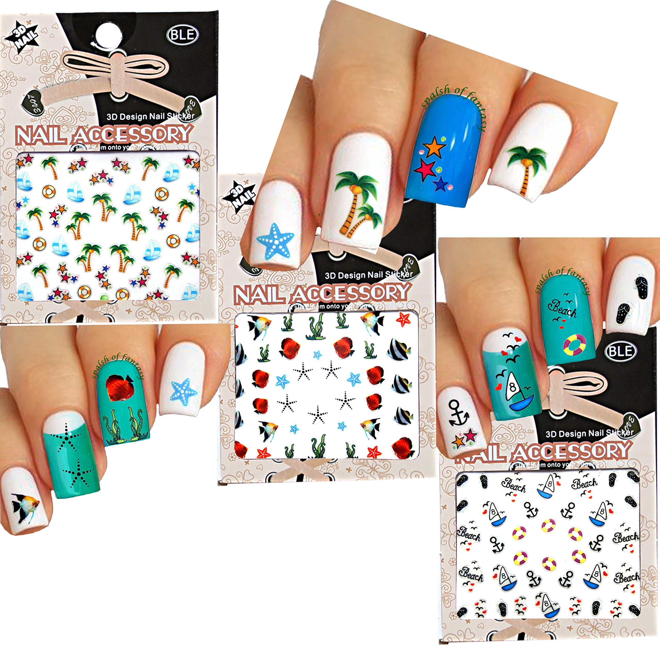 Amazon.com : Sea World Nail Art 3D Stickers Decals, Set of 8 : Beauty