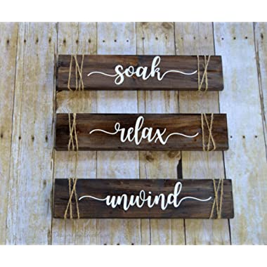 Soak Relax Unwind Signs, Bathroom Decor, Rustic Farmhouse Bathroom Wall Decor, Set of 3 Wood Signs