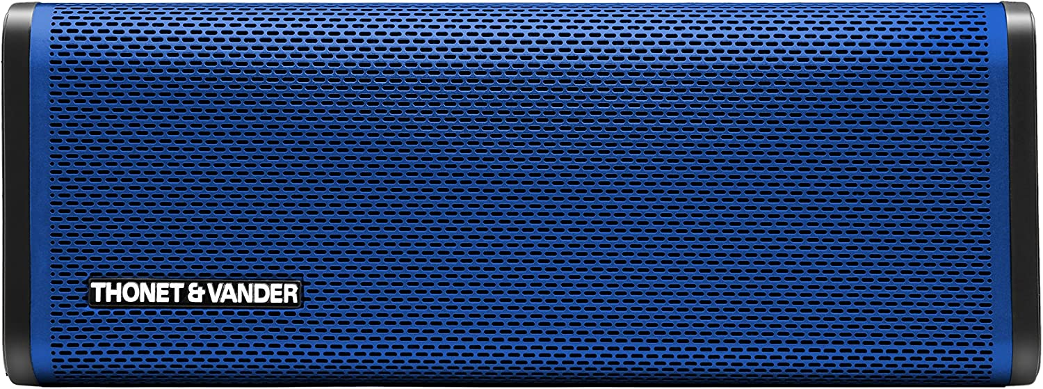 Thonet and Vander Frei Portable Bluetooth Speaker (Bue) Wireless with Enhanced Bass (50 Peak Watts) Impact + Water Resistant/IPX-4 Shockproof - Rechargeable 8Hr Battery (German Engineered)