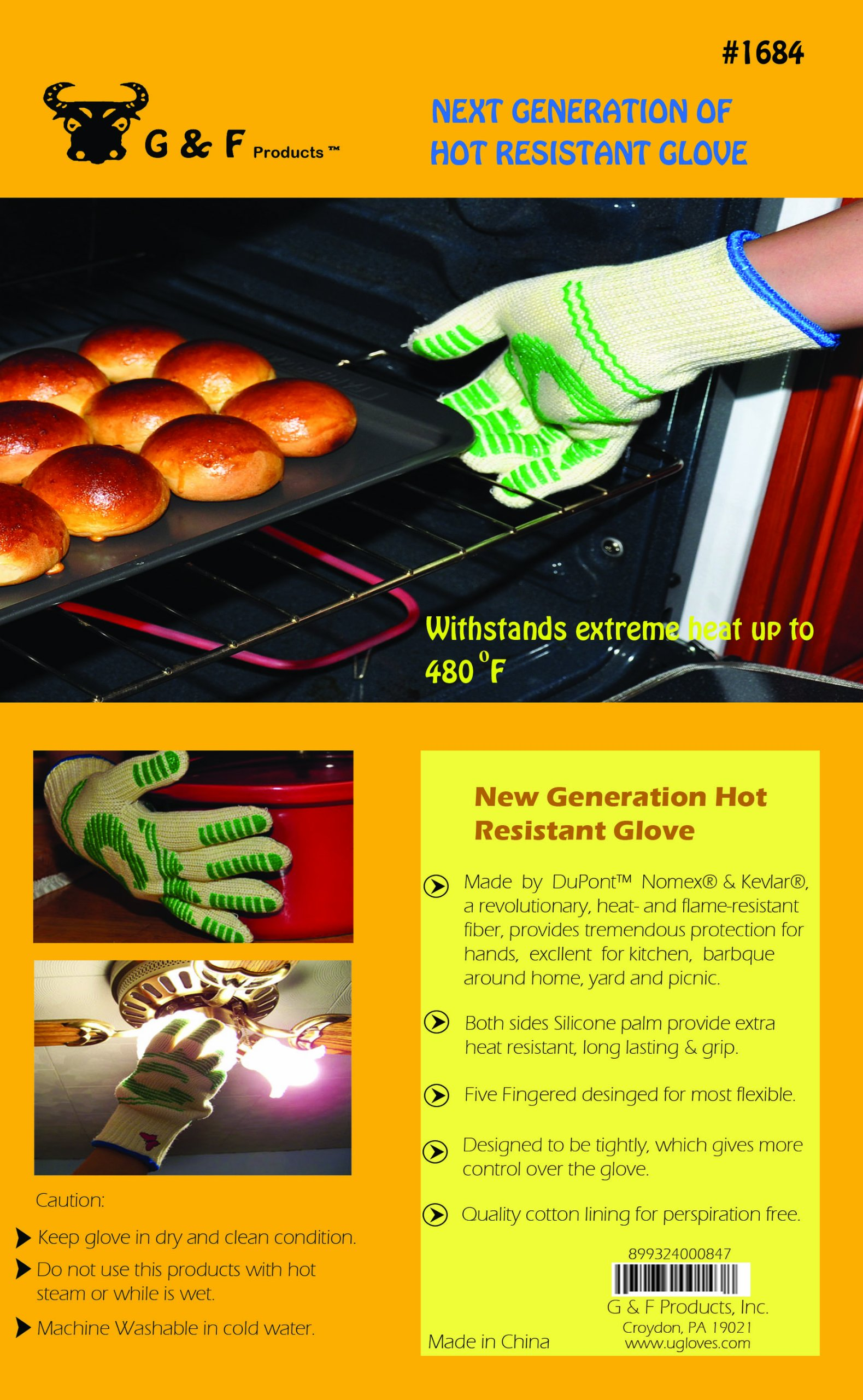 G & F 1684L Dupont Nomex  & Kevlar  Heat Resistant Gloves, Oven Gloves, BBQ Gloves, Large, 1 Pair by G & F Products (Image #4)