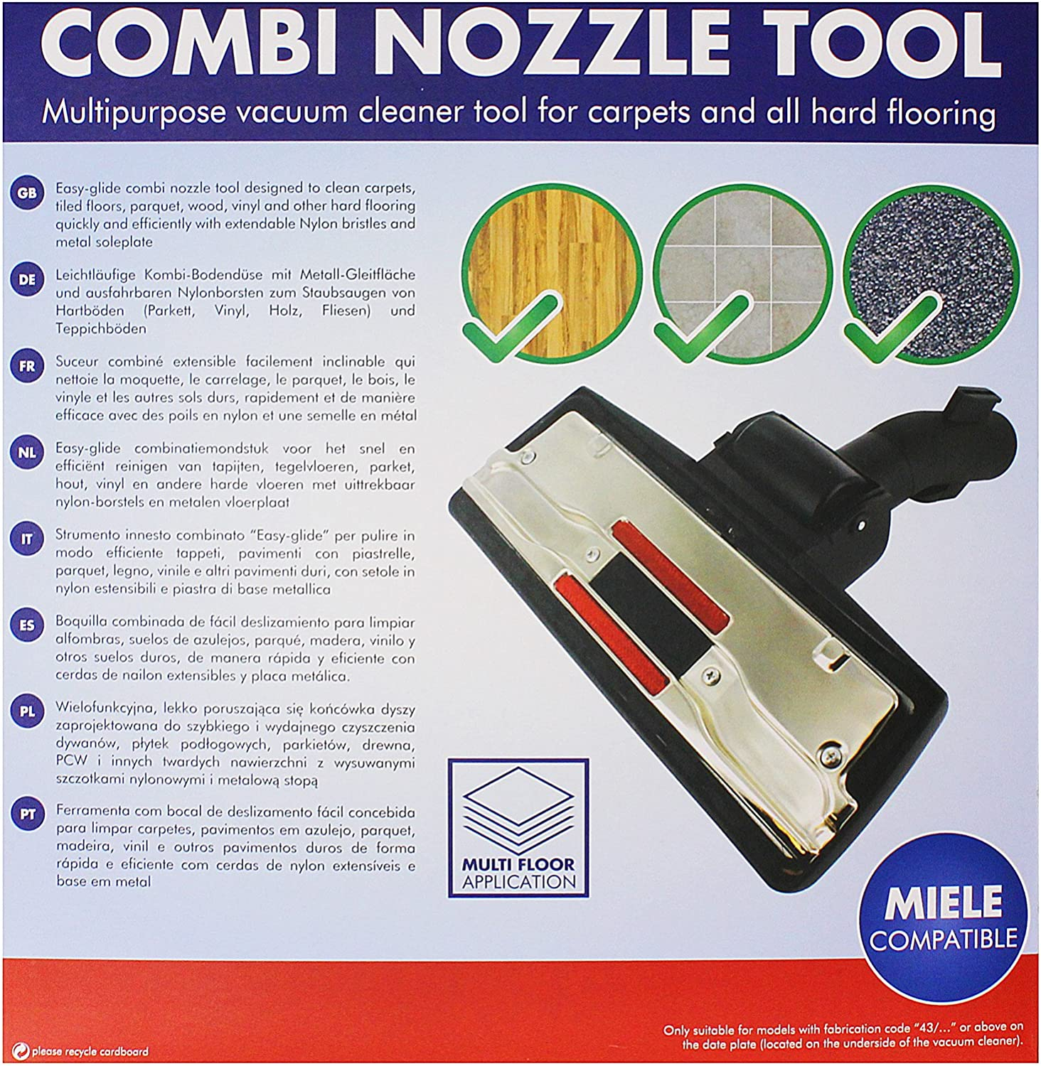 SPARES2GO Floor Brush Tool Head for Miele S2000 S2 S8000 S8 Vacuum Cleaner