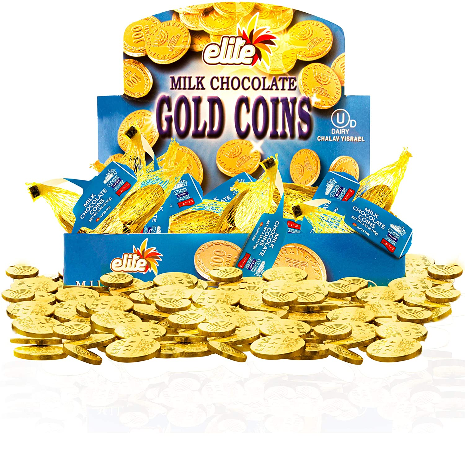Elite Milk Chocolate Gold Coins, Individually Wrapped, Box of 24 (.53oz) Mesh Bags Filled with Menora Embossed Hanukkah Gelt Coins, Gluten Free