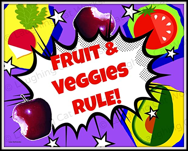 picture relating to Printable Pictures of Fruit and Vegetables called : Fruit Greens artwork Humorous Kitchen area decor