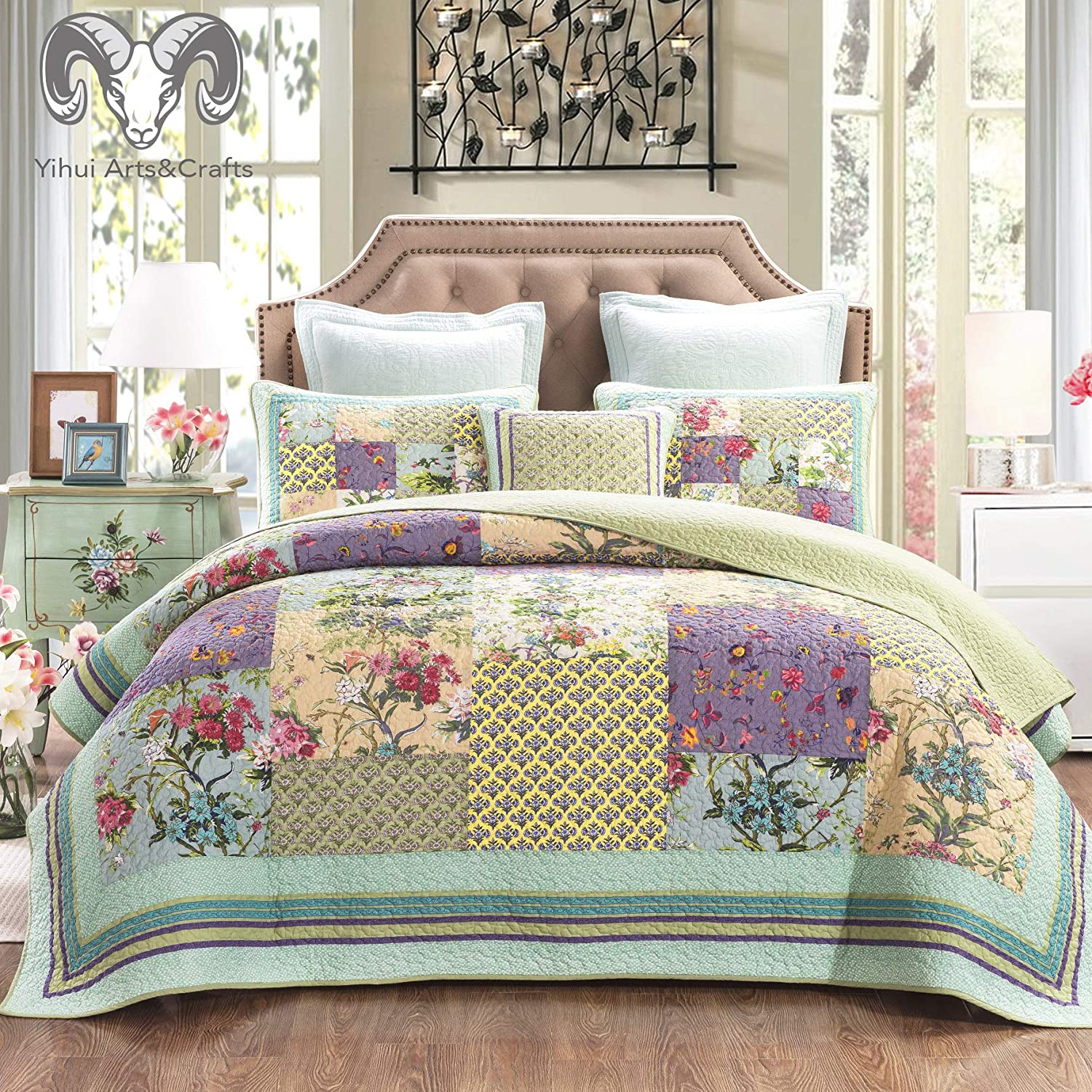 YAYIDAY Cotton Patchwork Bedspread Botanical Quilt Sets King Size - Reversible Breathable Comforter Floral Quilted Coverlet with Pillow Shams, Christmas Decor Bohemian Pattern Rural