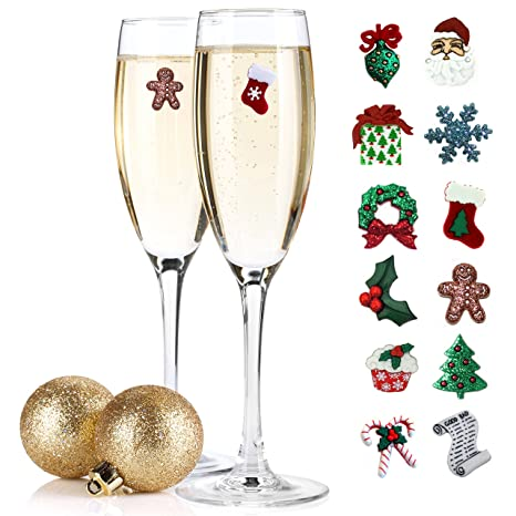 christmas wine charms cocktail markers set of 12 great gift idea or stocking stuffer - Christmas Wine Charms