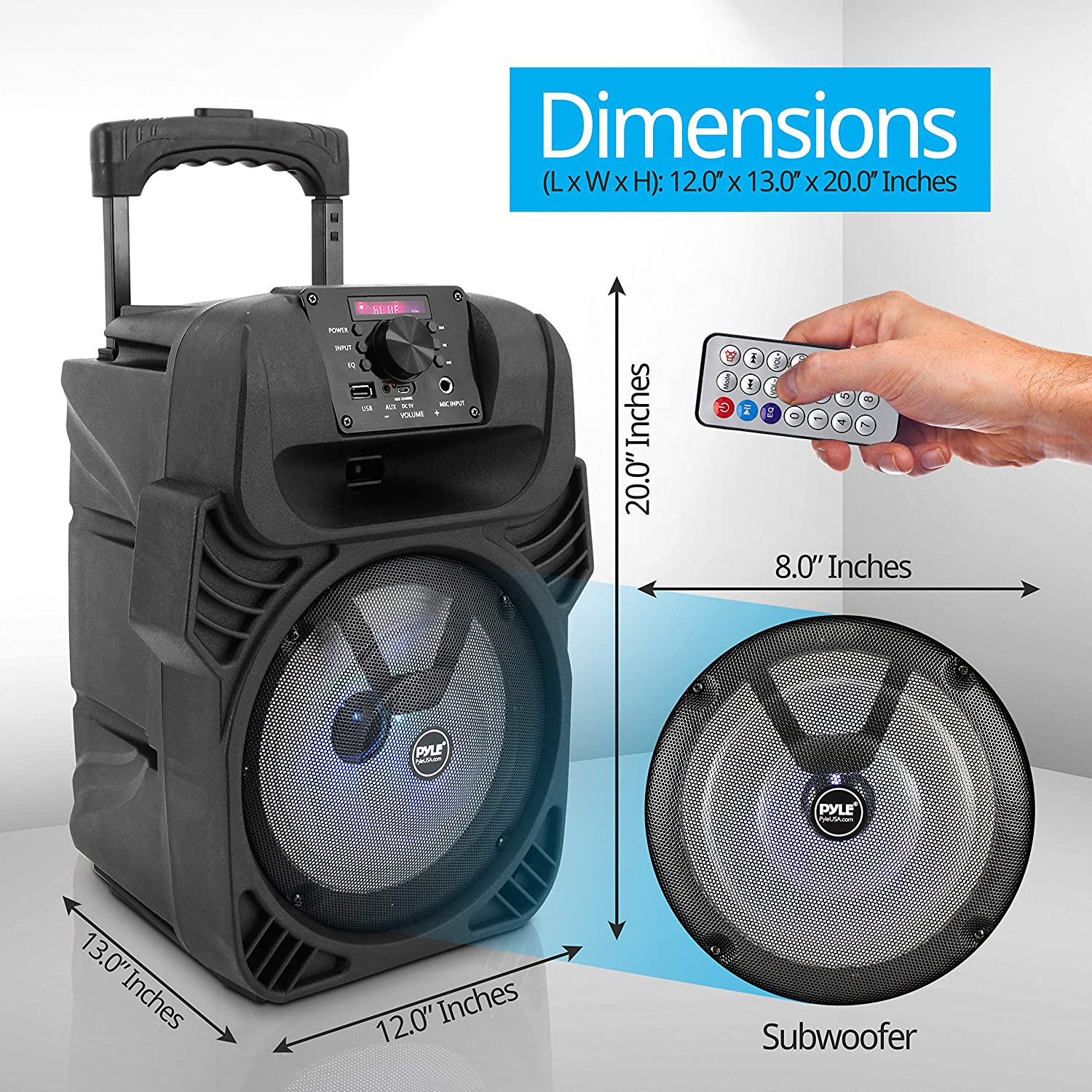 """4 Ohm//55-20kHz Multi-Color LED Lights Pyle PPHP844B USB//MP3//FM Radio// /¼ Mic Inputs 400W Portable Bluetooth PA Loudspeaker Built-in Rechargeable Battery w// Remote Control 8/"""" Subwoofer System"""