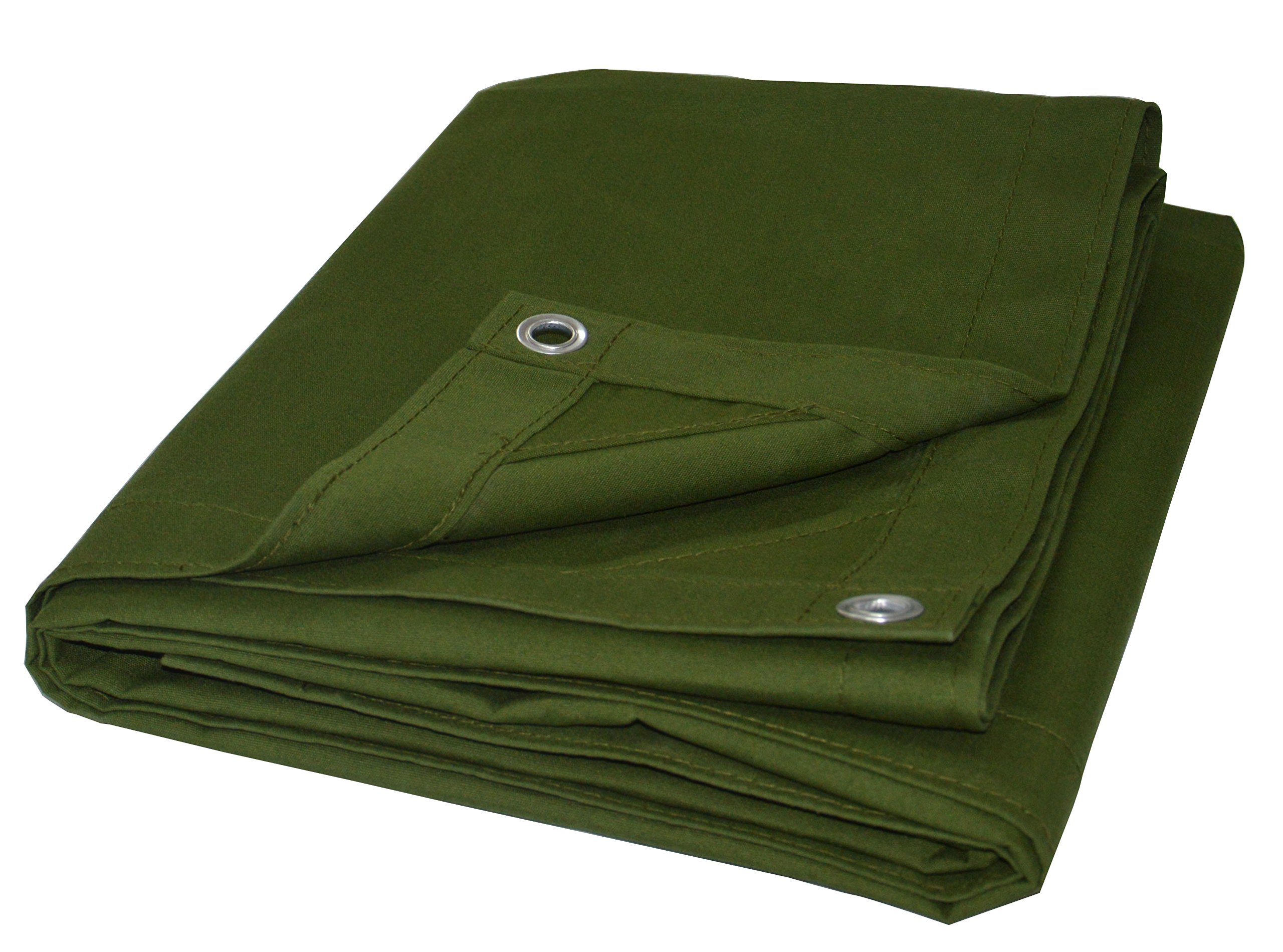 Cartman Olive Drab 10 oz Canvas Tarpaulin 3 Sizes for Option (8' x 10') by CARTMAN