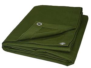 CARTMAN Olive Drab 10 oz Canvas Tarpaulin 3 Sizes for Option (10' x 12')