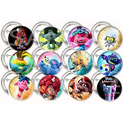 """Trolls World Tour Party Favors Supplies Decorations Collectible Metal Pinback Buttons, Large 2.25"""" -12 pcs Poppy Branch Tiny Diamond King Trollex Legsly Queen Essence Pennywhistle: Toys & Games"""