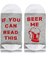 Happypop Funny Novelty Saying Ankle Combed Cotton Beer Wine Taco Coffee Socks for Women Men