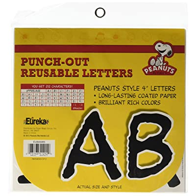 """Eureka 845065 Punch-Out Reusable 4"""" Deco Letters, 212 Pieces, Peanuts Letters, Black : Childrens Arts And Crafts Supplies : Office Products"""