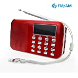 PRUNUS L-218AM-Red FM AM Radio mit Micro TF Card USB MP3, Rot