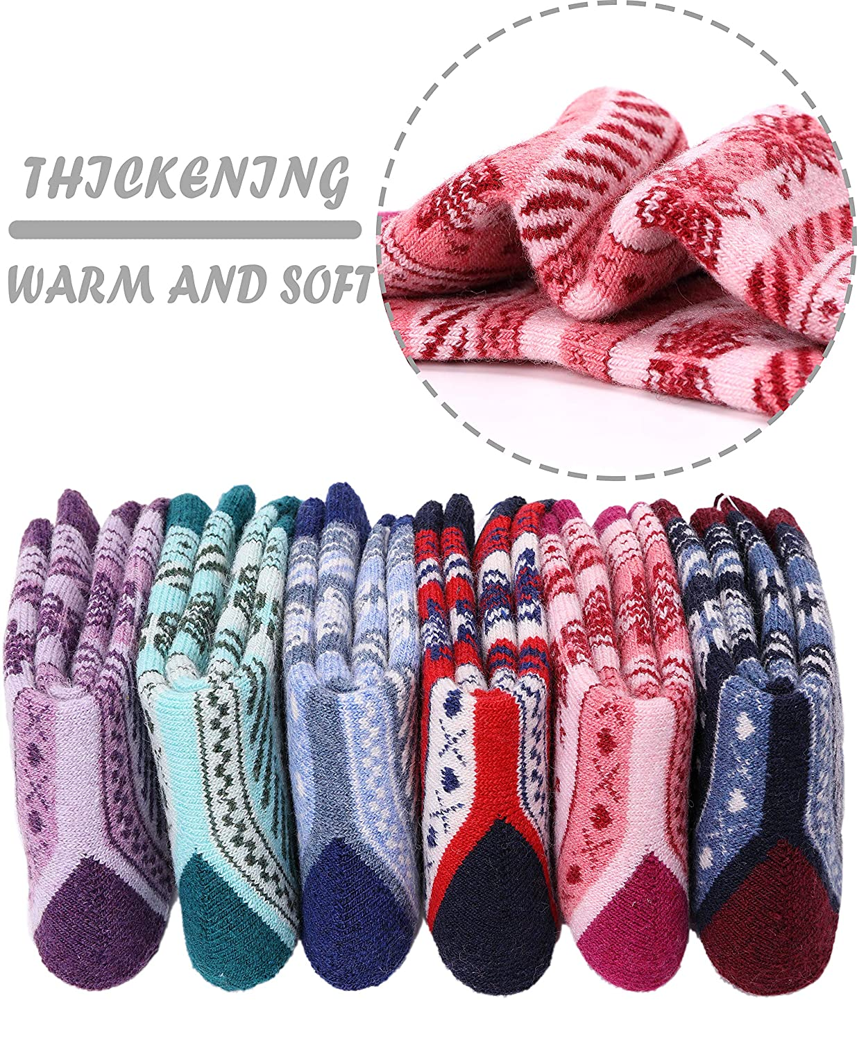 Christmas Snowflake Kids Wool Socks For Boy Girl Kid Thick Thermal Warm Cotton Winter Crew Socks 6 Pack