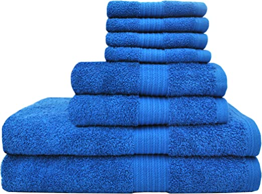 Blue Utopia Towels Premium 600 GSM Cotton 8 Piece Towel Set